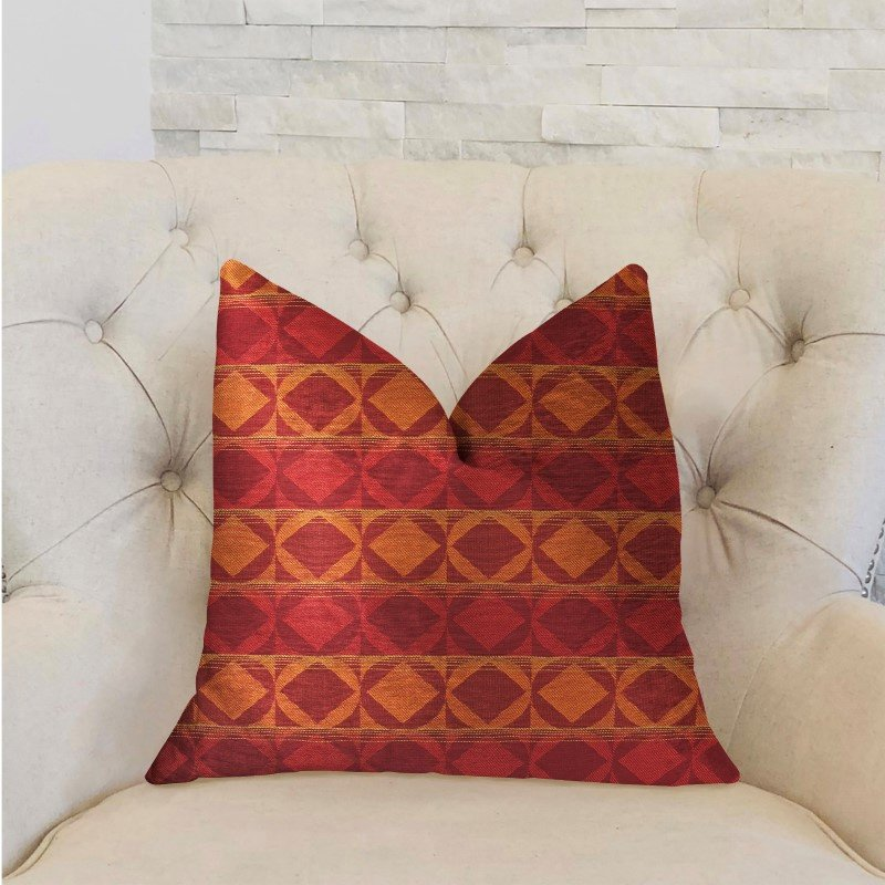 "Plutus Brands Celestial Red and Orange Luxury Throw Pillow 16"" x 16"" (PBRA2210-1616-DP)"