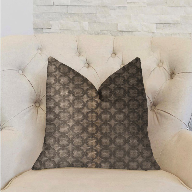 "Plutus Brands Cercles Dark Brown Luxury Throw Pillow 20"" x 26"" Standard (PBRA2223-2026-DP)"