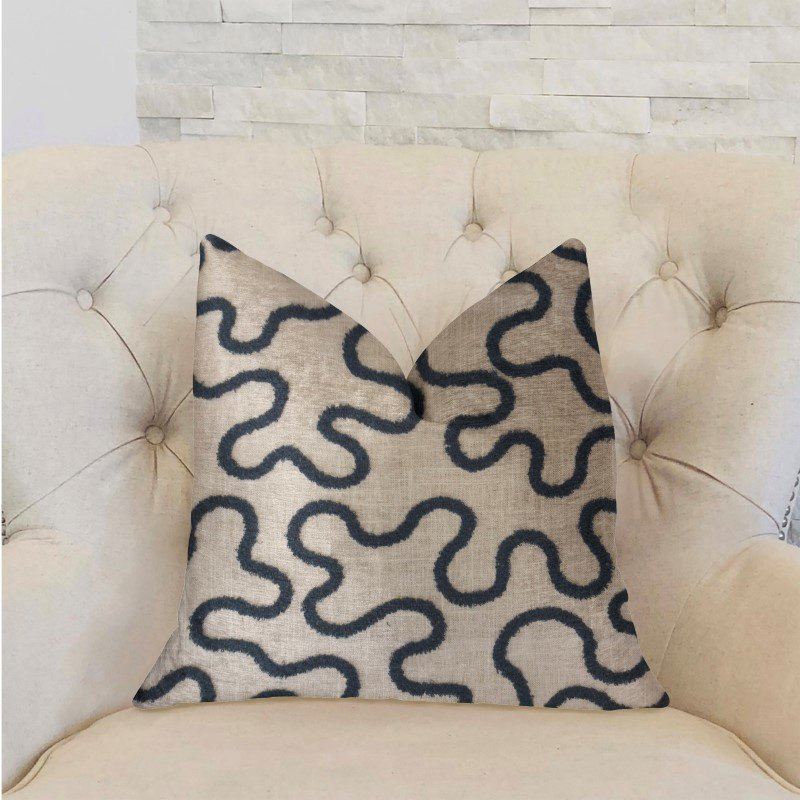 """Plutus Brands Chandra Taal Blue and Beige Luxury Throw Pillow 20"""" x 36"""" King (PBRA2233-2036-DP)"""