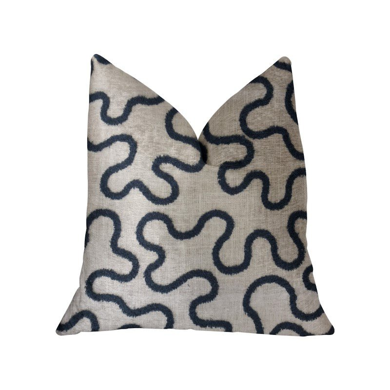 """Plutus Brands Chandra Taal Blue and Beige Luxury Throw Pillow 22"""" x 22"""" (PBRA2233-2222-DP)"""