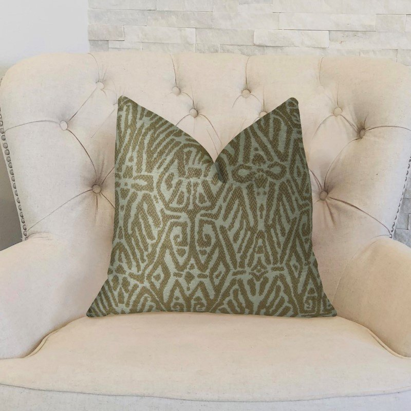 "Plutus Brands Cherokee Light Brown and Cream Handmade Luxury Pillow 16"" x 16"" (PBRAZ162-1616-DP)"