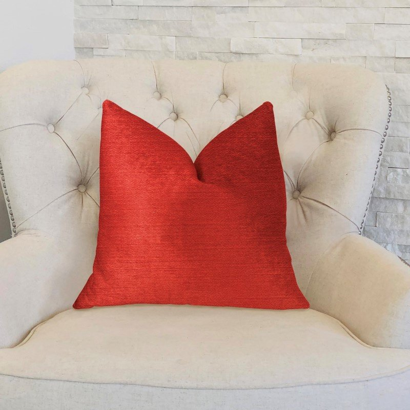 "Plutus Brands Cherry Love Orange and Red Luxury Throw Pillow 18"" x 18"" (PBKR1988-1818-DP)"