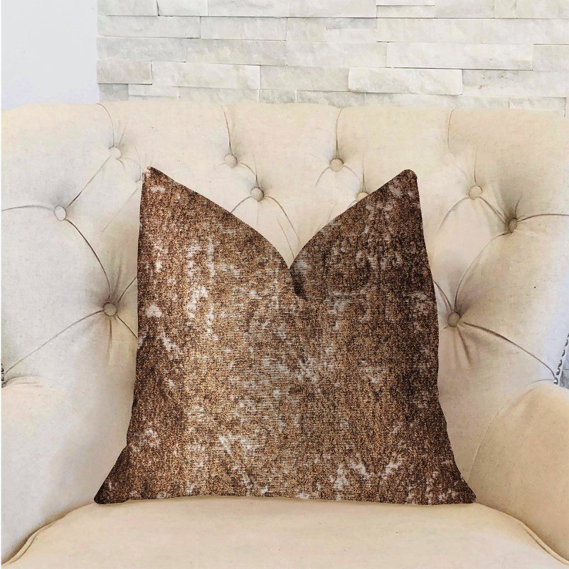 "Plutus Brands Chestnut Crush Brown Luxury Throw Pillow 16"" x 16"" (PBRA2321-1616-DP)"