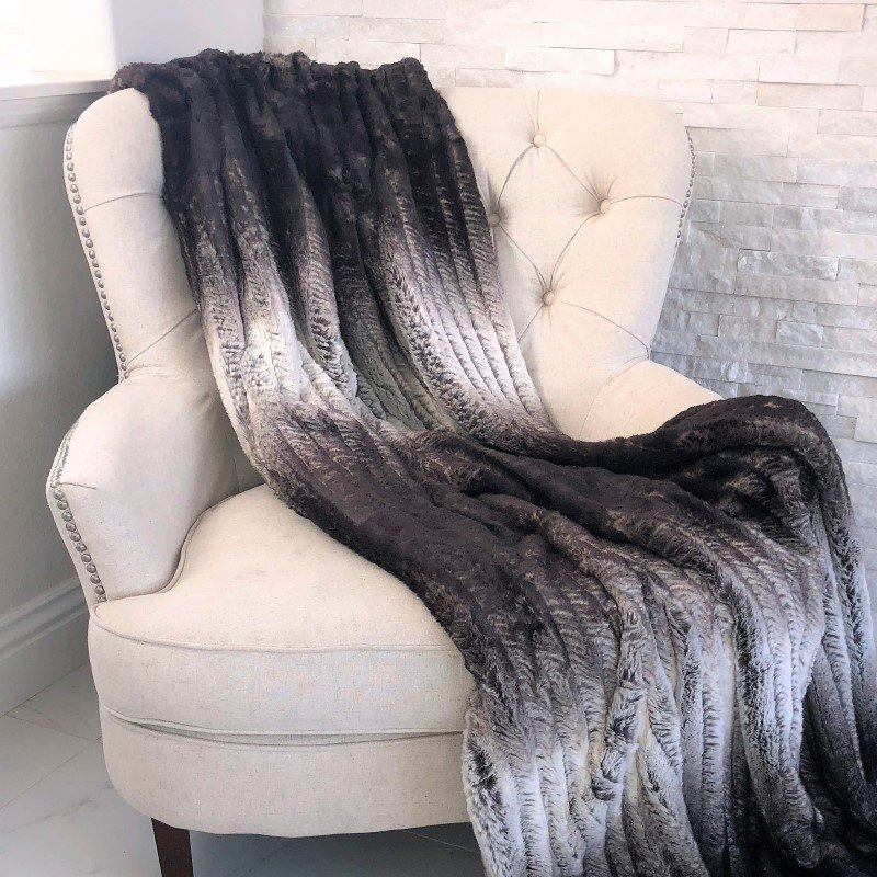 "Plutus Brands Chocolate Brown Ivory Faux Fur Luxury Throw Blanket 114""L x 120""W King (PBSF1449-114x120)"