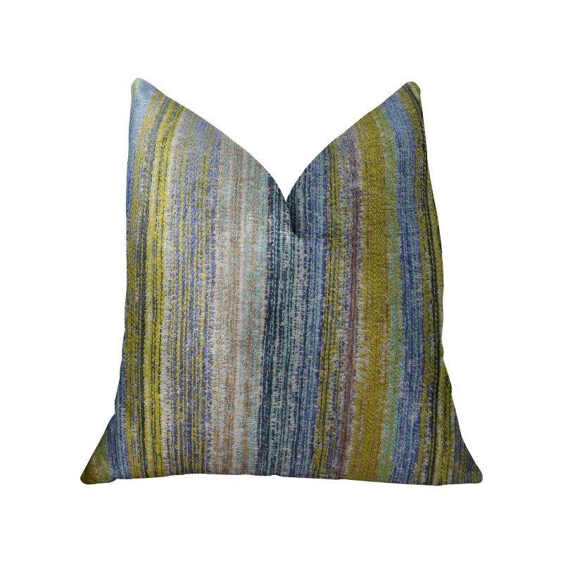 "Plutus Brands Clear Shore Blue Mustard and Lavender Handmade Luxury Pillow 20"" x 36"" King (PBRAZ160-2036-DP)"