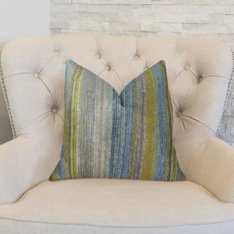 "Plutus Brands Clear Shore Blue Mustard and Lavender Handmade Luxury Pillow 24"" x 24"" (PBRAZ160-2424-DP)"
