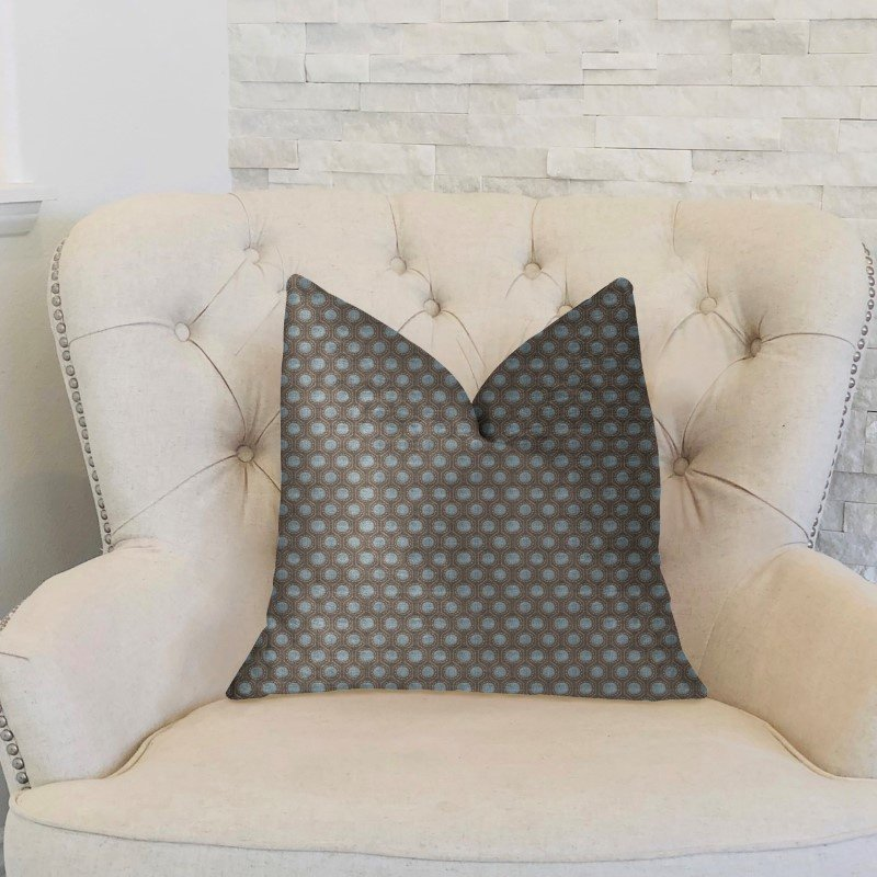 "Plutus Brands Clubhouse Orbit Brown Beige and Blue Luxury Throw Pillow 20"" x 30"" Queen (PBKR1929-2030-DP)"