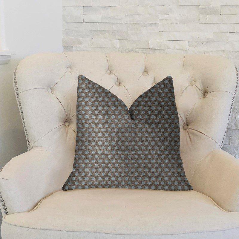 "Plutus Brands Clubhouse Orbit Brown Beige and Blue Luxury Throw Pillow 26"" x 26"" (PBKR1929-2626-DP)"