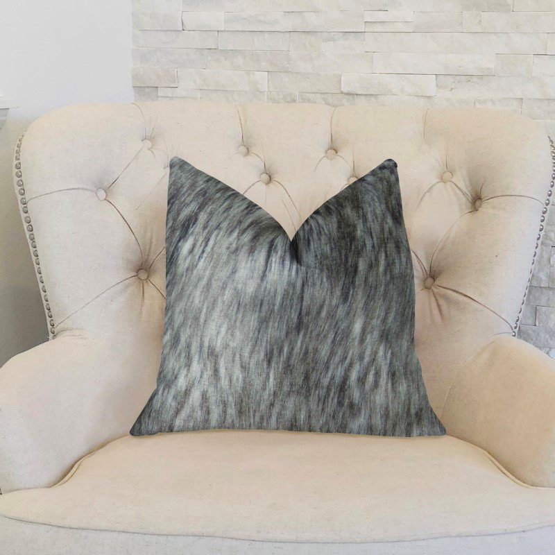 "Plutus Brands Cozy Siberian Husky Gray White Black Handmade Luxury Pillow Double Sided 22"" x 22"" (PBRAZ461-2222-DP)"