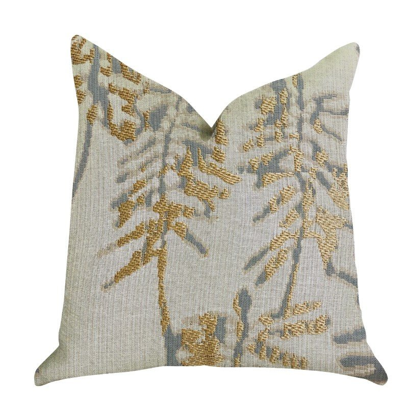 """Plutus Brands Creekside Beauty Luxury Throw Pillow in Green and Gold Tones Pillows 20"""" x 36"""" King (PBRA1395-2036-DP)"""