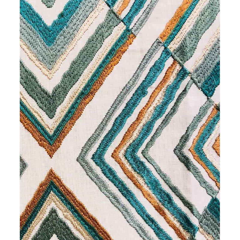 "Plutus Brands Crescent Peak Multi Green Luxury Throw Pillow 18"" x 18"" (PBRA1357-1818-DP)"