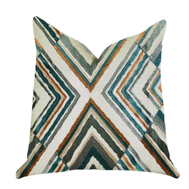 "Plutus Brands Crescent Peak Multi Green Luxury Throw Pillow 20"" x 30"" Queen (PBRA1357-2030-DP)"