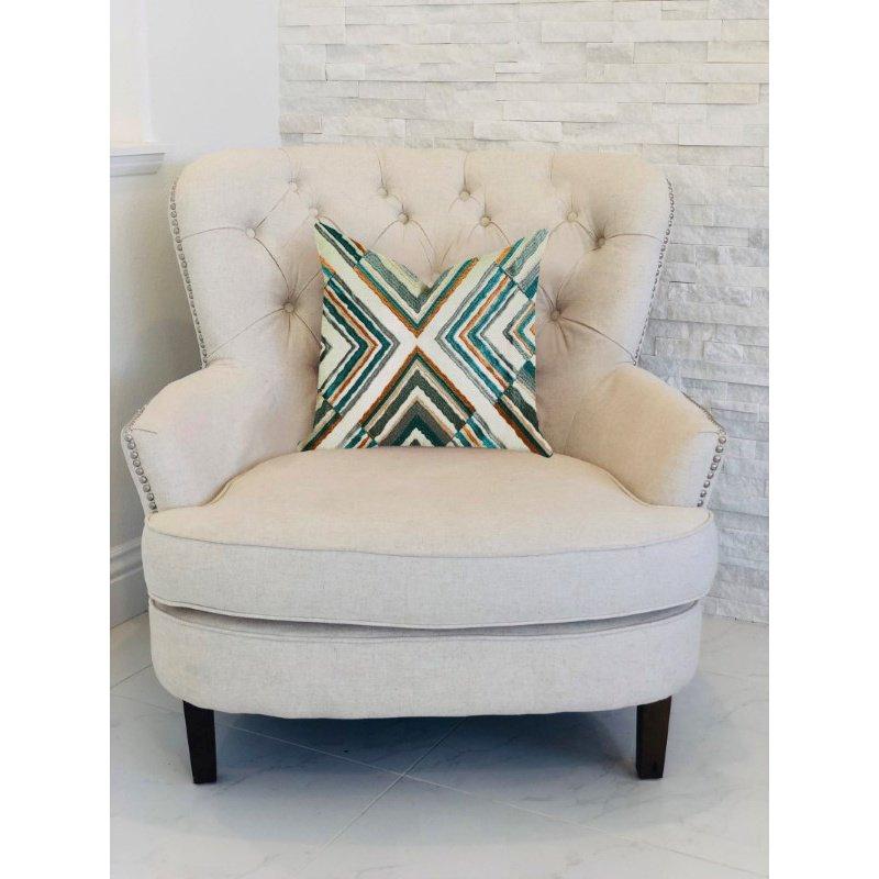 "Plutus Brands Crescent Peak Multi Green Luxury Throw Pillow 20"" x 36"" King (PBRA1357-2036-DP)"