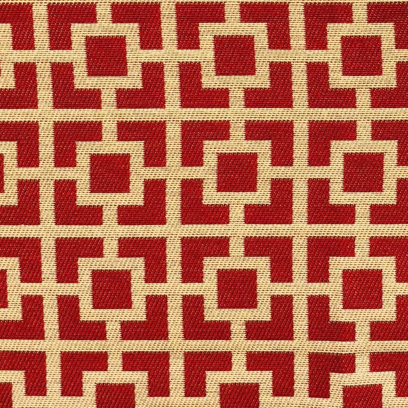 "Plutus Brands Crimson Square Red and Beige Luxury Throw Pillow 16"" x 16"" (PBKR1963-1616-DP)"
