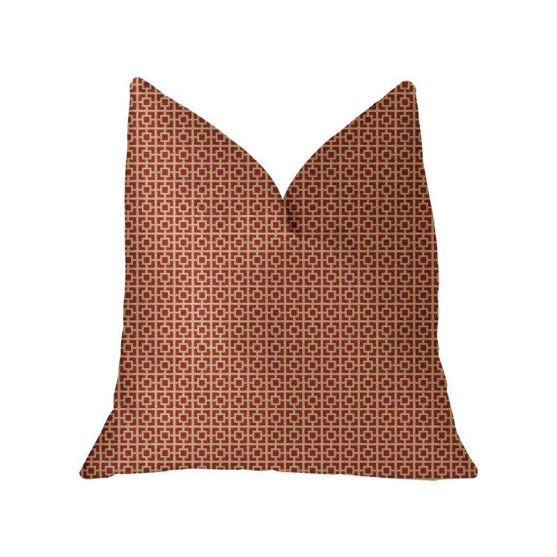 "Plutus Brands Crimson Square Red and Beige Luxury Throw Pillow 20"" x 26"" Standard (PBKR1963-2026-DP)"
