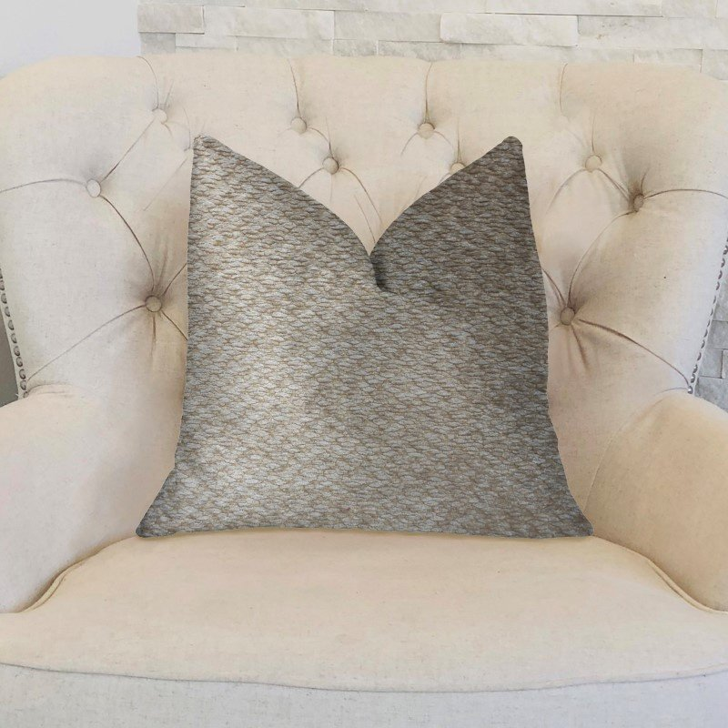 "Plutus Brands Creme Brulee Beige Luxury Throw Pillow 20"" x 30"" Queen (PBKR1992-2030-DP)"