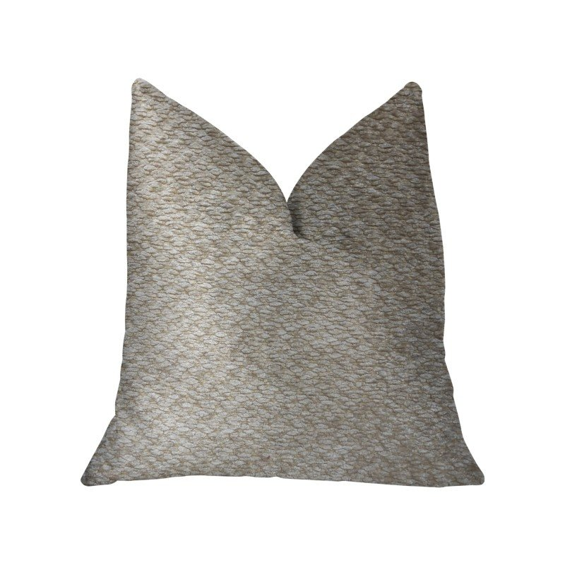 "Plutus Brands Creme Brulee Beige Luxury Throw Pillow 24"" x 24"" (PBKR1992-2424-DP)"