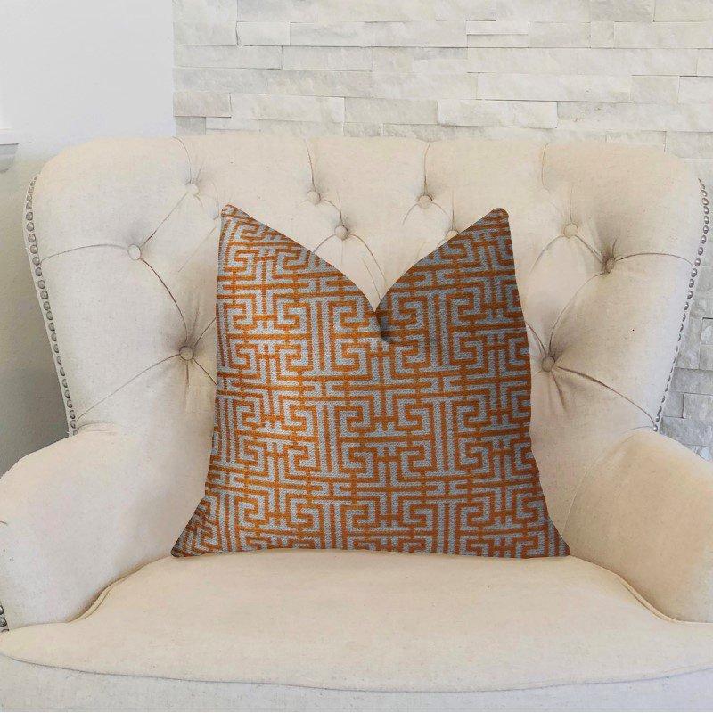 "Plutus Brands Crossroad Orange and Ivory Handmade Luxury Pillow 12"" x 20"" (PBRAZ040-1220-DP)"