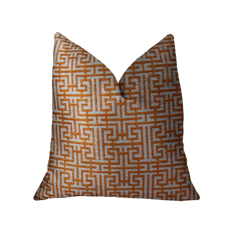 "Plutus Brands Crossroad Orange and Ivory Handmade Luxury Pillow 16"" x 16"" (PBRAZ040-1616-DP)"