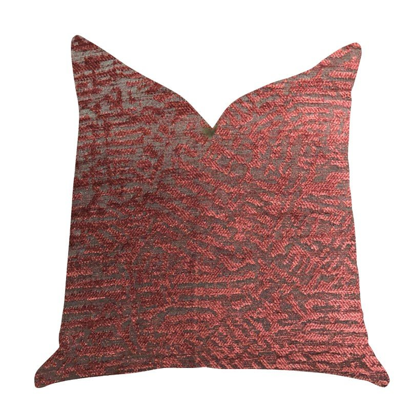 "Plutus Brands Crushed Wine Luxury Throw Pillow in Dark Red Pillows 24"" x 24"" (PBRA1405-2424-DP)"