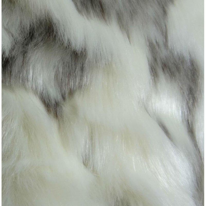"Plutus Brands Cuddly Ivory Rabbit Fur Ivory Gray Handmade Luxury Pillow Double Sided 18"" x 18"" (PBRAZ478-1818-DP)"
