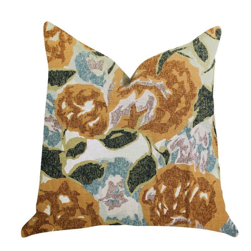 "Plutus Brands Dahlia Jardin Floral Brown and Green Luxury Throw Pilow Pillows 16"" x 16"" (PBRA1360-1616-DP)"