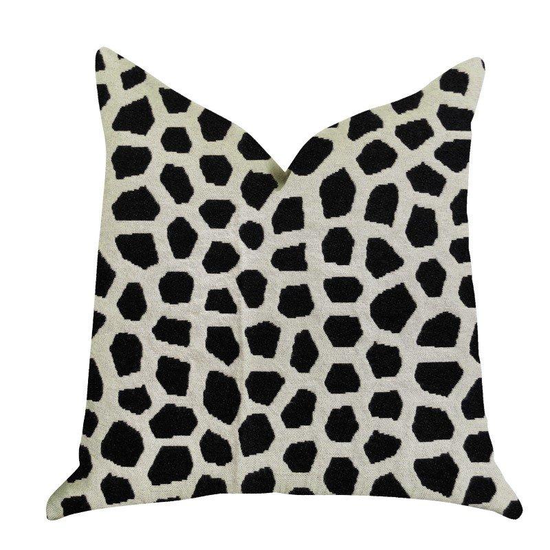 "Plutus Brands Dark Jewels Luxury Throw Pillow in Black and White Pillows 12"" x 25"" (PBRA1374-1225-DP)"
