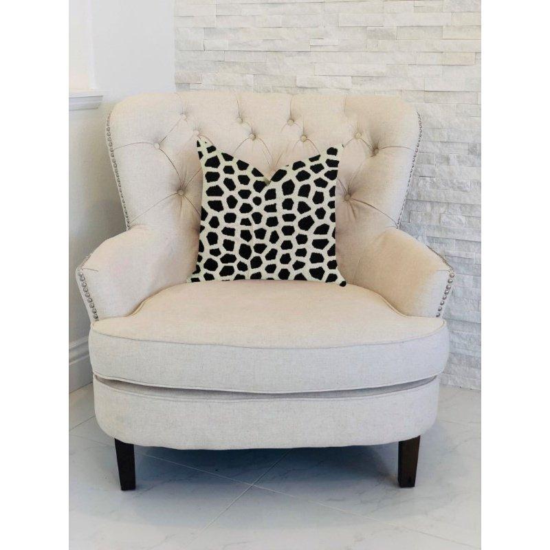 "Plutus Brands Dark Jewels Luxury Throw Pillow in Black and White Pillows 22"" x 22"" (PBRA1374-2222-DP)"