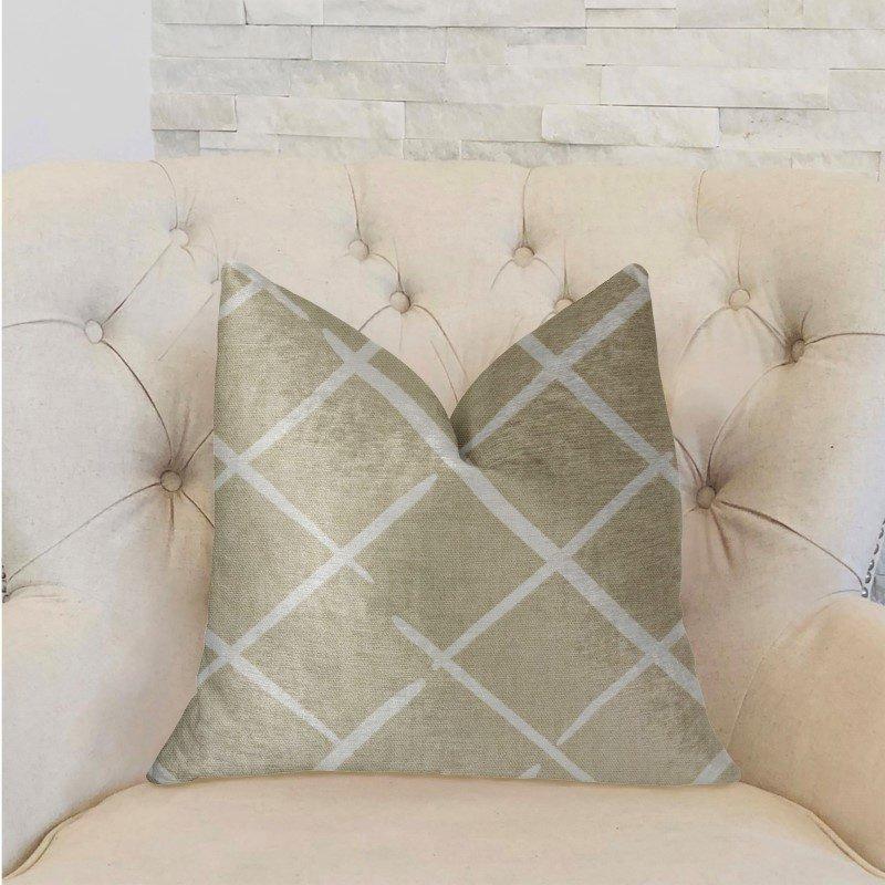 "Plutus Brands DaVinci Beige and Brown Luxury Throw Pillow 18"" x 18"" (PBRA2229-1818-DP)"