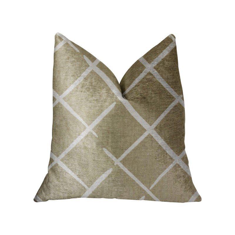 "Plutus Brands DaVinci Beige and Brown Luxury Throw Pillow 20"" x 20"" (PBRA2229-2020-DP)"