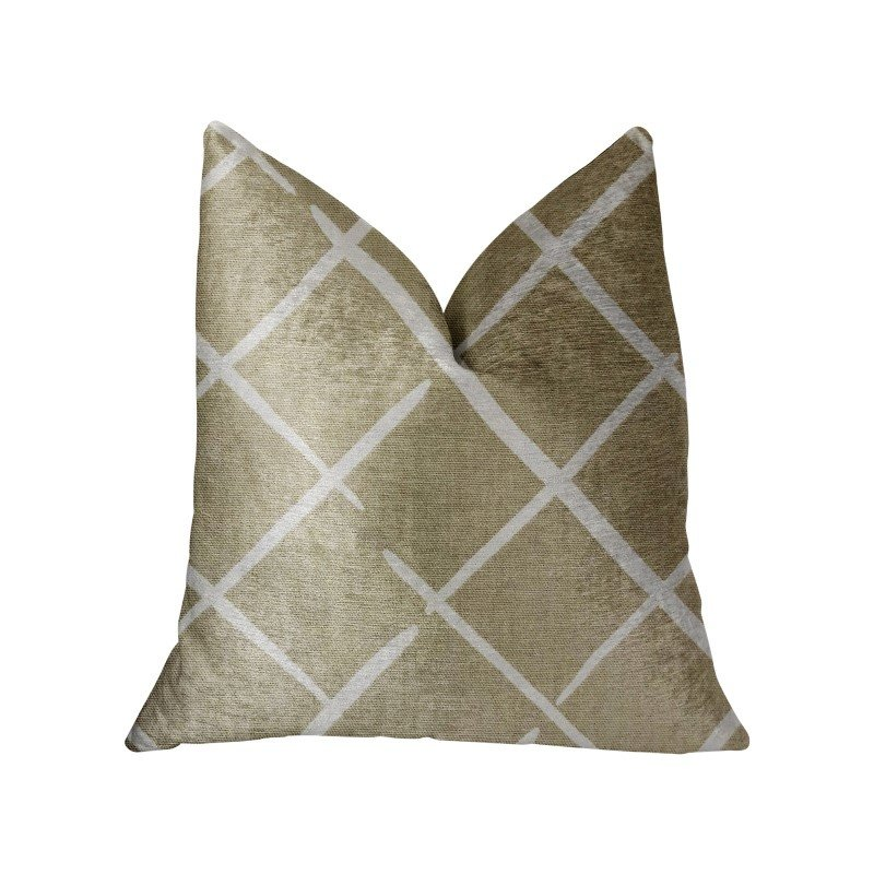 "Plutus Brands DaVinci Beige and Brown Luxury Throw Pillow 22"" x 22"" (PBRA2229-2222-DP)"