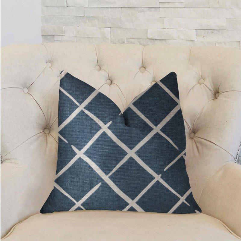 "Plutus Brands DaVinci Blue and White Luxury Throw Pillow 24"" x 24"" (PBRA2232-2424-DP)"