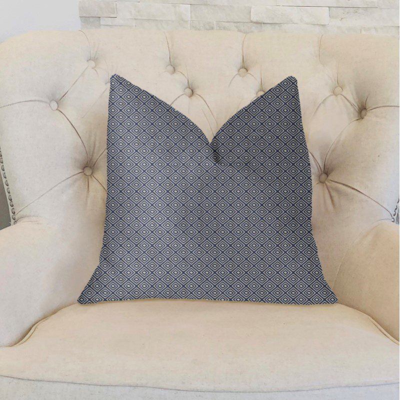 "Plutus Brands Daydream Blue and Beige Luxury Throw Pillow 18"" x 18"" (PBKR1995-1818-DP)"