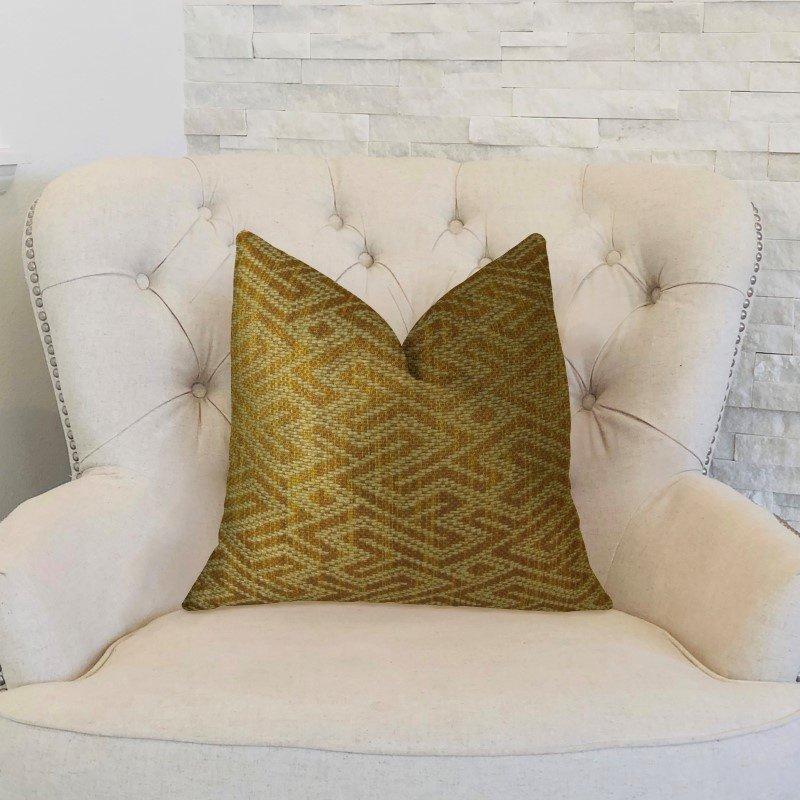 "Plutus Brands Deep Bridge Taupe and Copper Handmade Luxury Pillow 26"" x 26"" (PBRAZ359-2626-DP)"