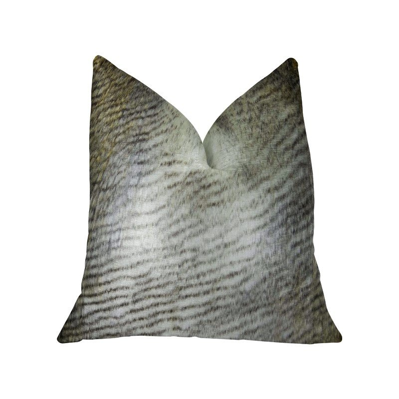 "Plutus Brands Delicate Alaskan Hawk White Gray Beige Handmade Luxury Pillow Double Sided 26"" x 26"" (PBRAZ458-2626-DP)"