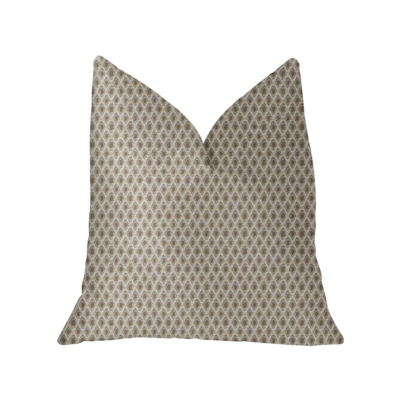 "Plutus Brands Diamant Beige and Brown Luxury Throw Pillow 18"" x 18"" (PBKR2002-1818-DP)"