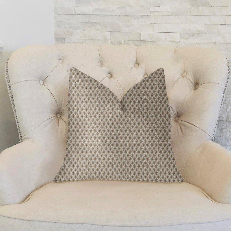 "Plutus Brands Diamant Beige and Brown Luxury Throw Pillow 20"" x 30"" Queen (PBKR2002-2030-DP)"
