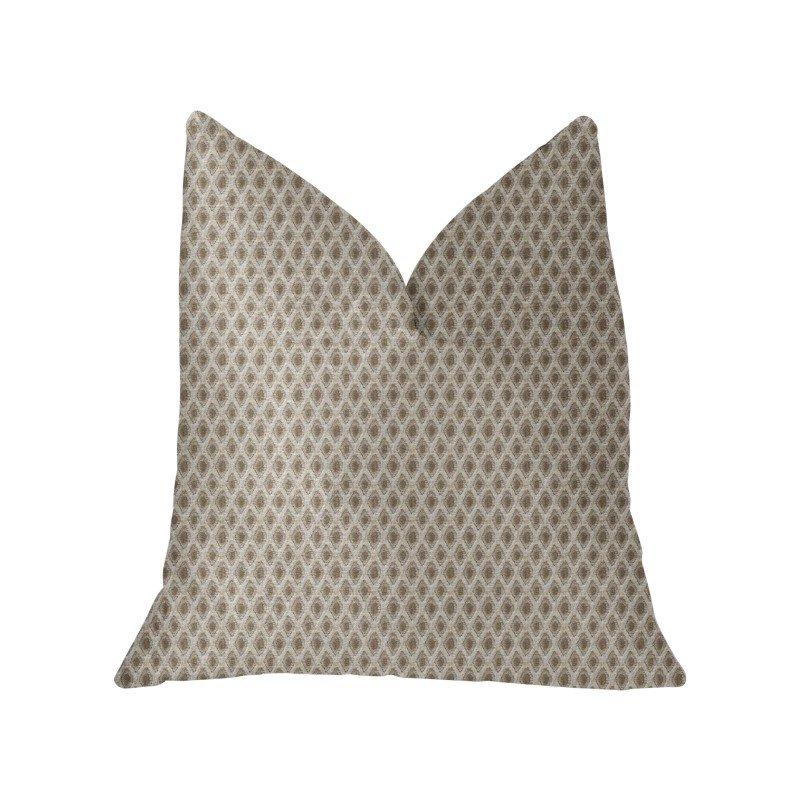 "Plutus Brands Diamant Beige and Brown Luxury Throw Pillow 24"" x 24"" (PBKR2002-2424-DP)"