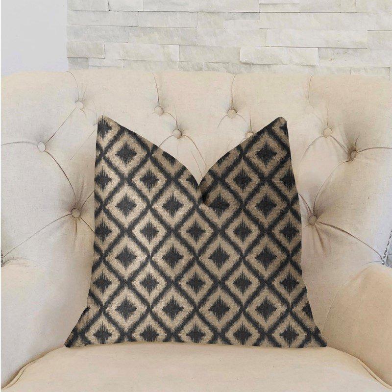 "Plutus Brands Diamond Embers Gray and Beige Luxury Throw Pillow 18"" x 18"" (PBRA2211-1818-DP)"