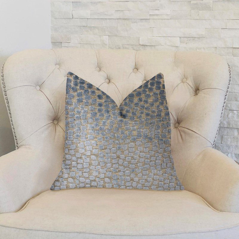 "Plutus Brands Dusky Gem Blue and Silver Luxury Throw Pillow 18"" x 18"" (PBKR1914-1818-DP)"