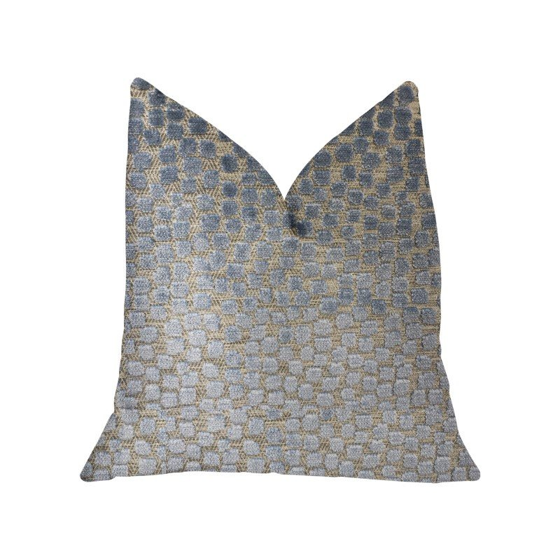 "Plutus Brands Dusky Gem Blue and Silver Luxury Throw Pillow 20"" x 30"" Queen (PBKR1914-2030-DP)"