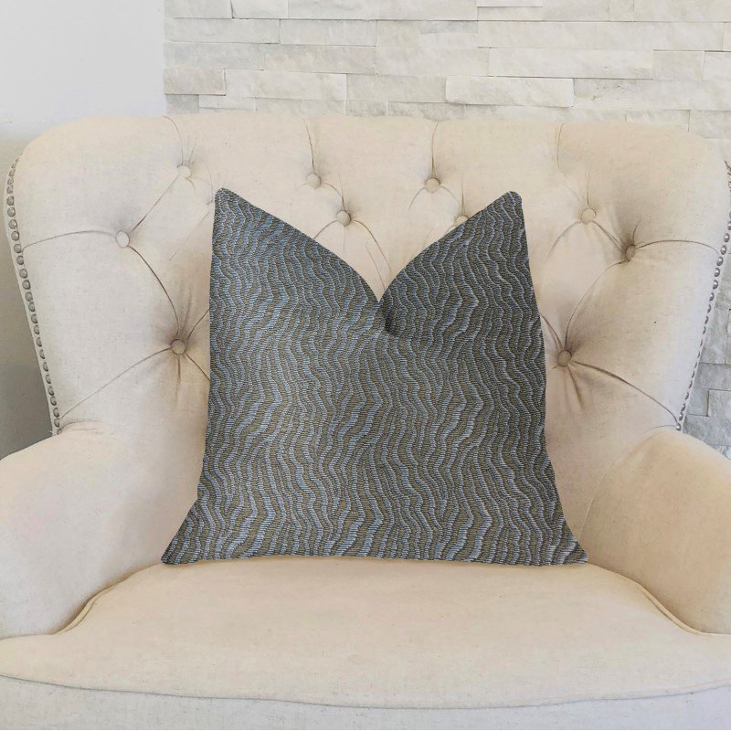 """Plutus Brands Dusky Veined Silver and Taupe Luxury Throw Pillow 24"""" x 24"""" (PBKR1923-2424-DP)"""