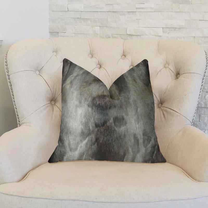"Plutus Brands Dusty Ash Gray Charcoal Handmade Luxury Pillow 20"" x 36"" King (PBRAZ469-2036-DP)"