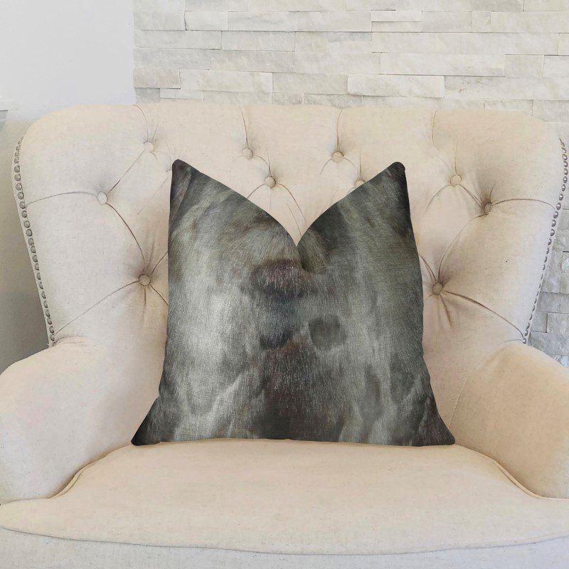"""Plutus Brands Dusty Ash Gray Charcoal Handmade Luxury Pillow Double Sided 16"""" x 16"""" (PBRAZ469-1616-DP)"""
