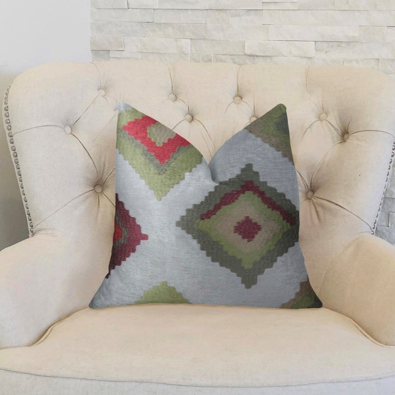 """Plutus Brands Earth Crust White Green and Red Handmade Luxury Pillow 18"""" x 18"""" (PBRAZ161-1818-DP)"""