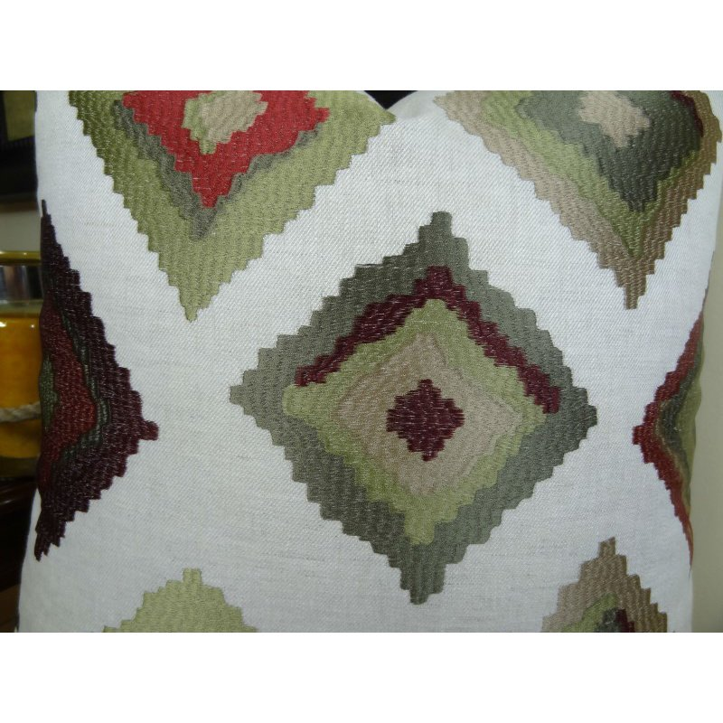 "Plutus Brands Earth Crust White Green and Red Handmade Luxury Pillow 20"" x 20"" (PBRAZ161-2020-DP)"