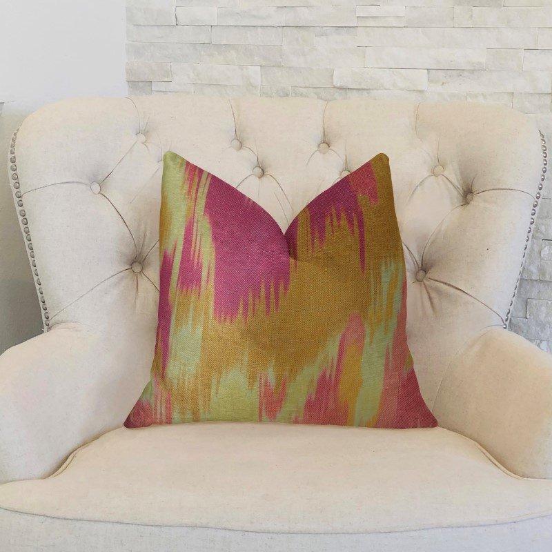 "Plutus Brands Electra Magenta Orange and Cream Handmade Luxury Pillow 16"" x 16"" (PBRAZ365-1616-DP)"