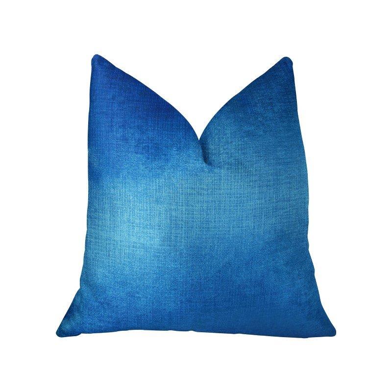 "Plutus Brands Electric Azure Blue Handmade Luxury Pillow Double Sided 18"" x 18"" (PBRAZ389-1818-DP)"