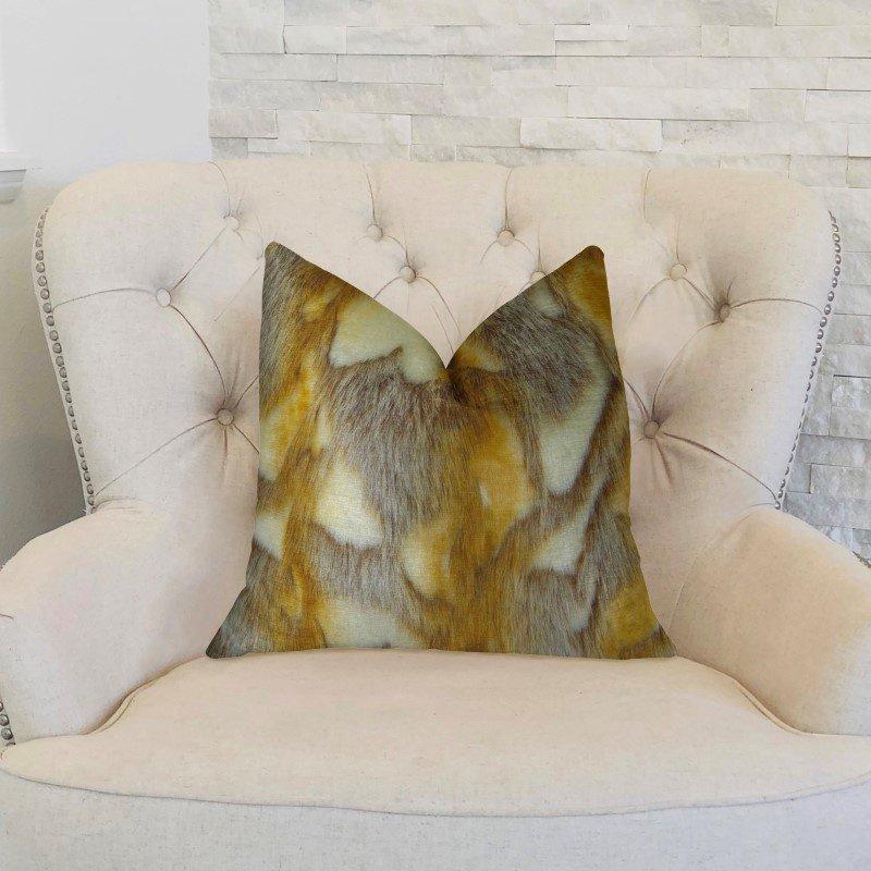 """Plutus Brands Elegant Brandy Fox Light Brown Gold White Handmade Luxury Pillow 20"""" x 36"""" King (PBRAZ403-2036-DP)"""