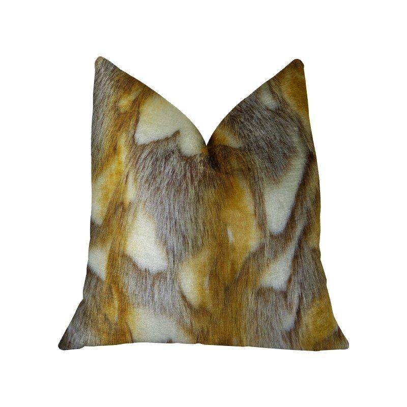 """Plutus Brands Elegant Brandy Fox Light Brown Gold White Handmade Luxury Pillow Double Sided 22"""" x 22"""" (PBRAZ403-2222-DP)"""